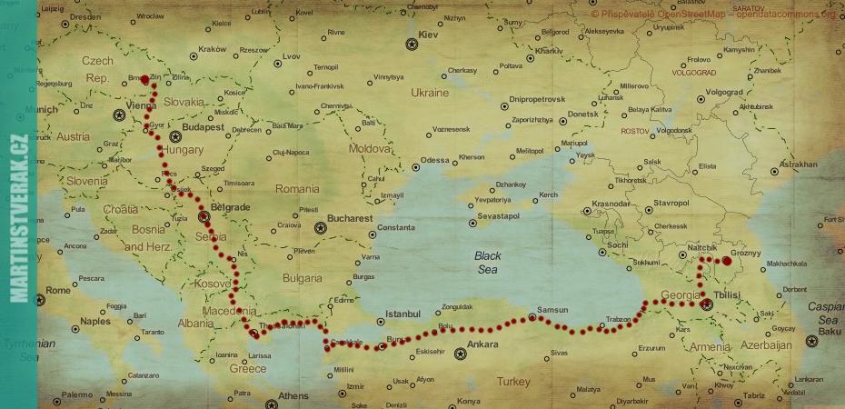 mapa Na kole za čečenským dobrodružstvím Martin Štverák