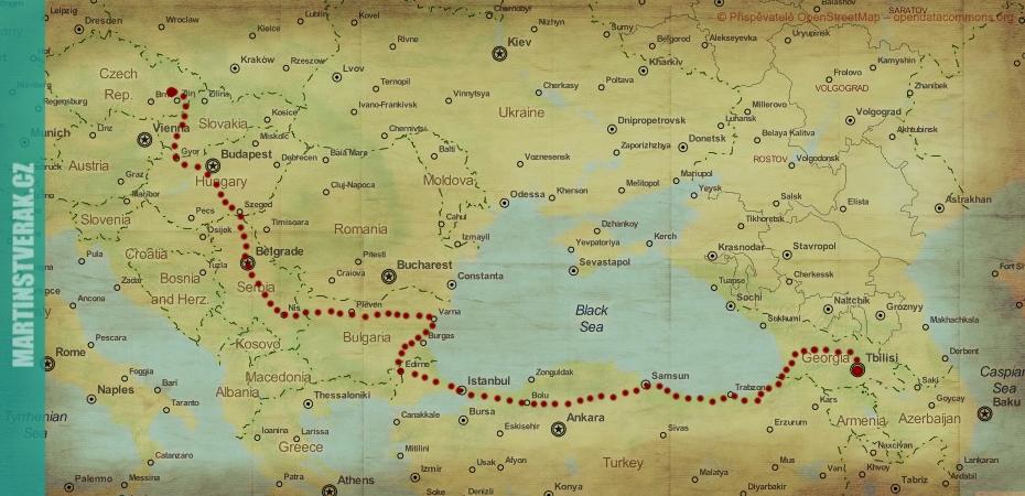 mapa Stopem do Gruzie Martin Štverák