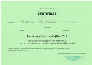 Certifikát Konference Sportovní výživa