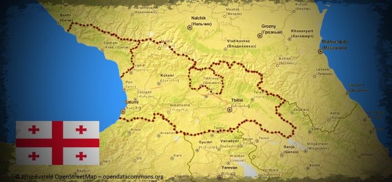 Mapa Gruzie orámovaná