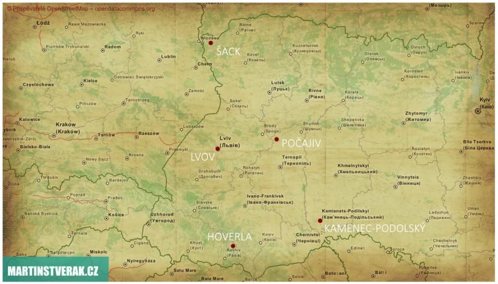 MAPA 5 míst, které vám odkryjí kousek západní Ukrajiny