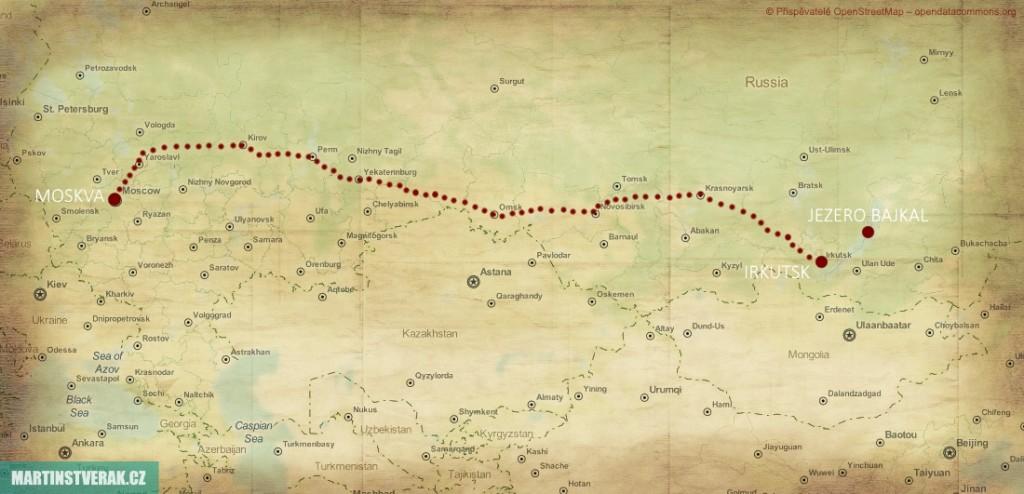 mapa transsibiřské magistrály Moskva – Irkutsk