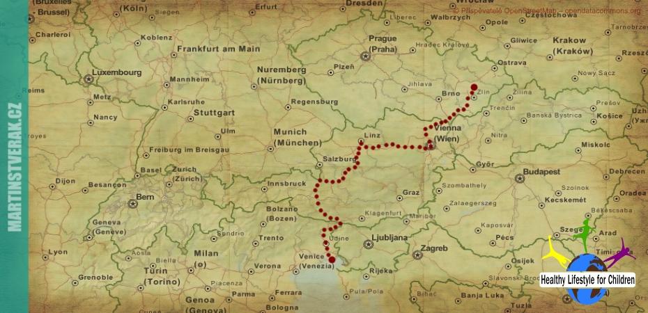 Trasa o prázdninách na kolech do Itálie
