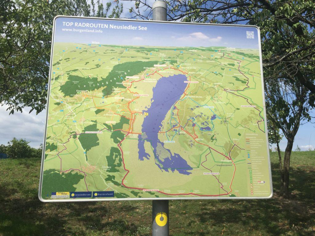 Mapa cyklostezky kolem Neziderského jezera